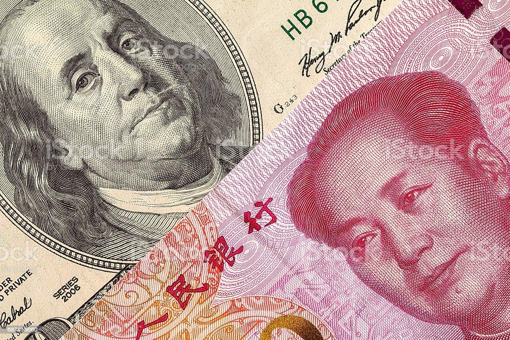 Us Dollar Bill And China Yuan Banknote Macro Stock Photo Download Image Now Istock