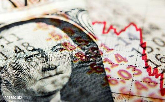 istock Dollar bill and Covid-19 newspaper headlines 1221650152