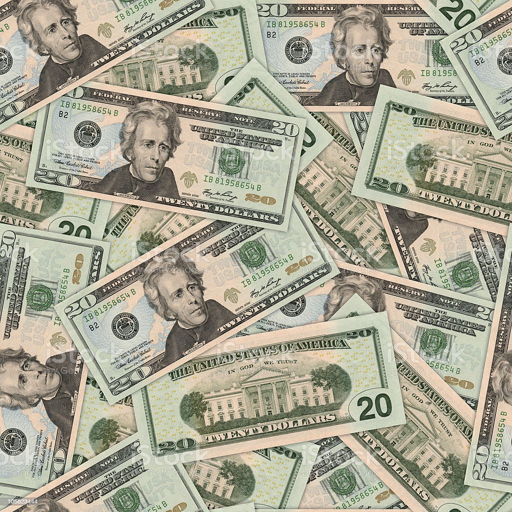 $20 dollar bill background (seamless) royalty-free stock photo