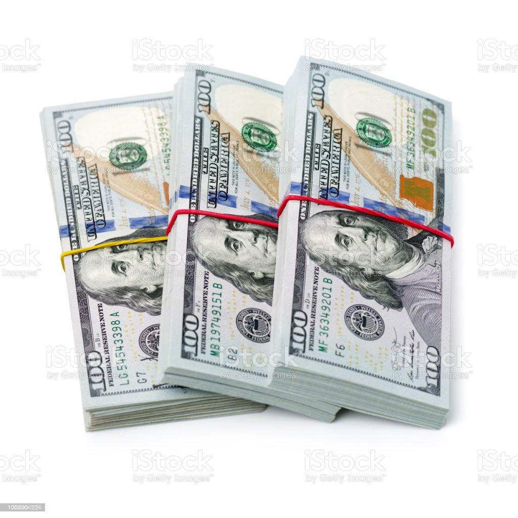 100 Dollar Bill Bundle On A White Background Stock Photo