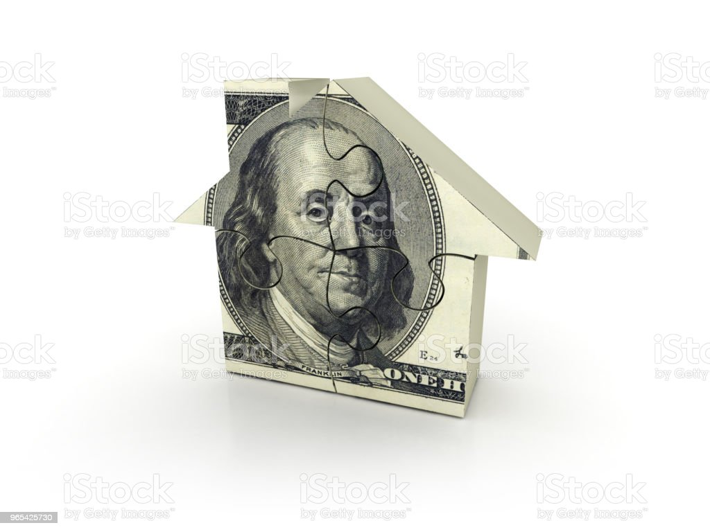 Dollar Bill House Puzzle - 3D Rendering royalty-free stock photo