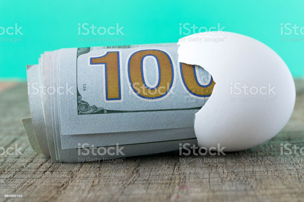 100 dollar bill in an egg shell. The concept of saving royalty-free stock photo