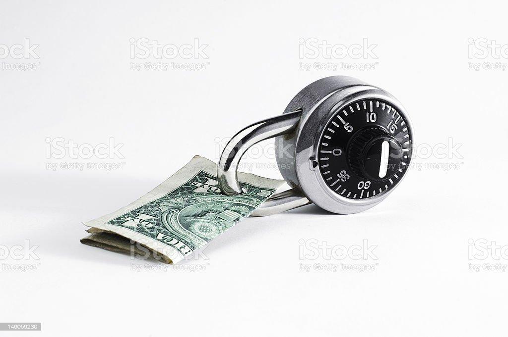 Dollar Bill Locked Up royalty-free stock photo