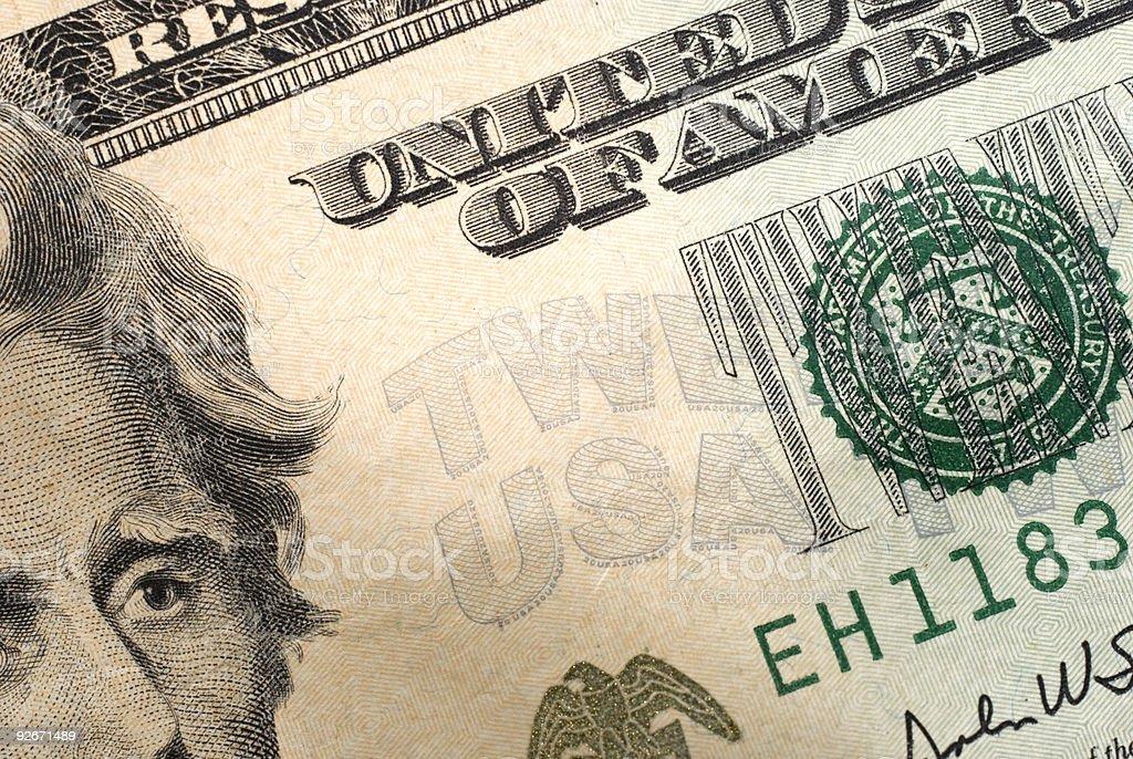 $20 Dollar Bill Macro With Andrew Jackson royalty-free stock photo