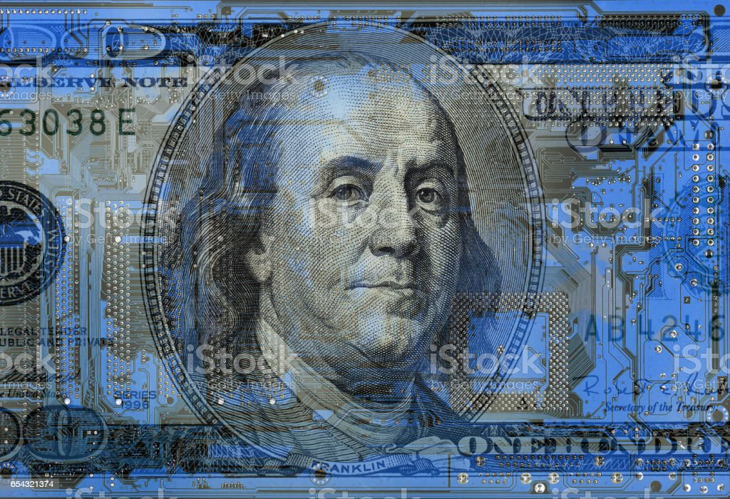 dollar bill on  circuit board background stock photo