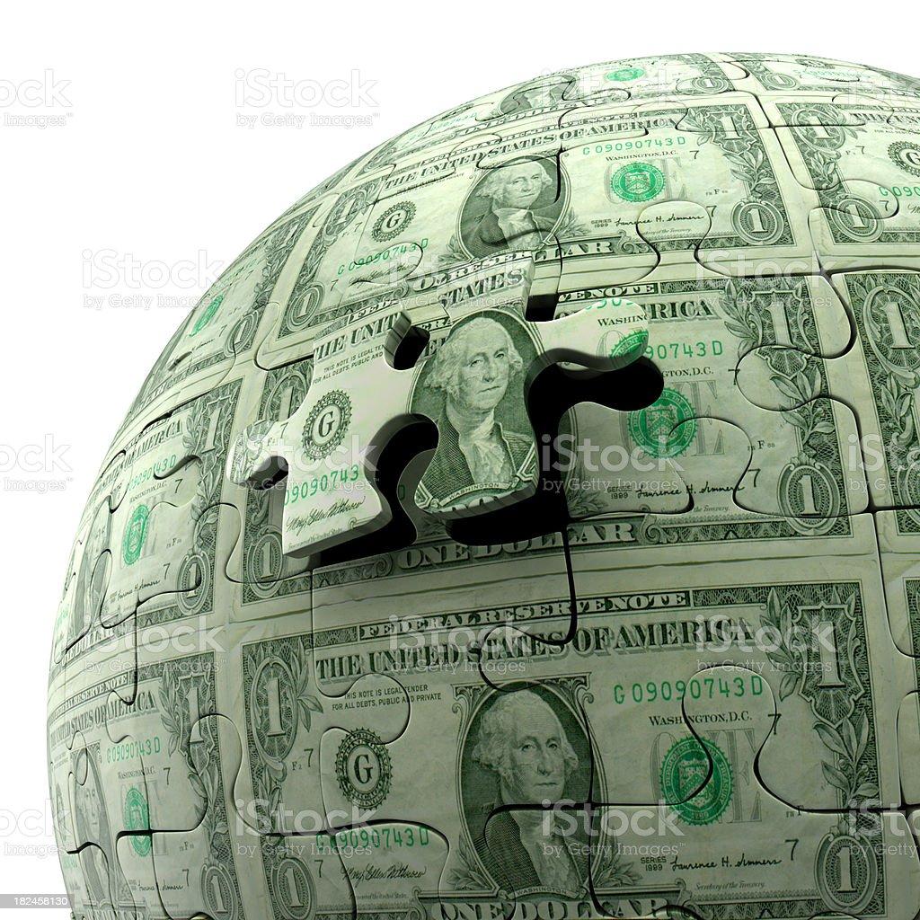 Dólares americanos quebra-cabeça de bola, isolada no branco, Traçado de Recorte incluído foto royalty-free