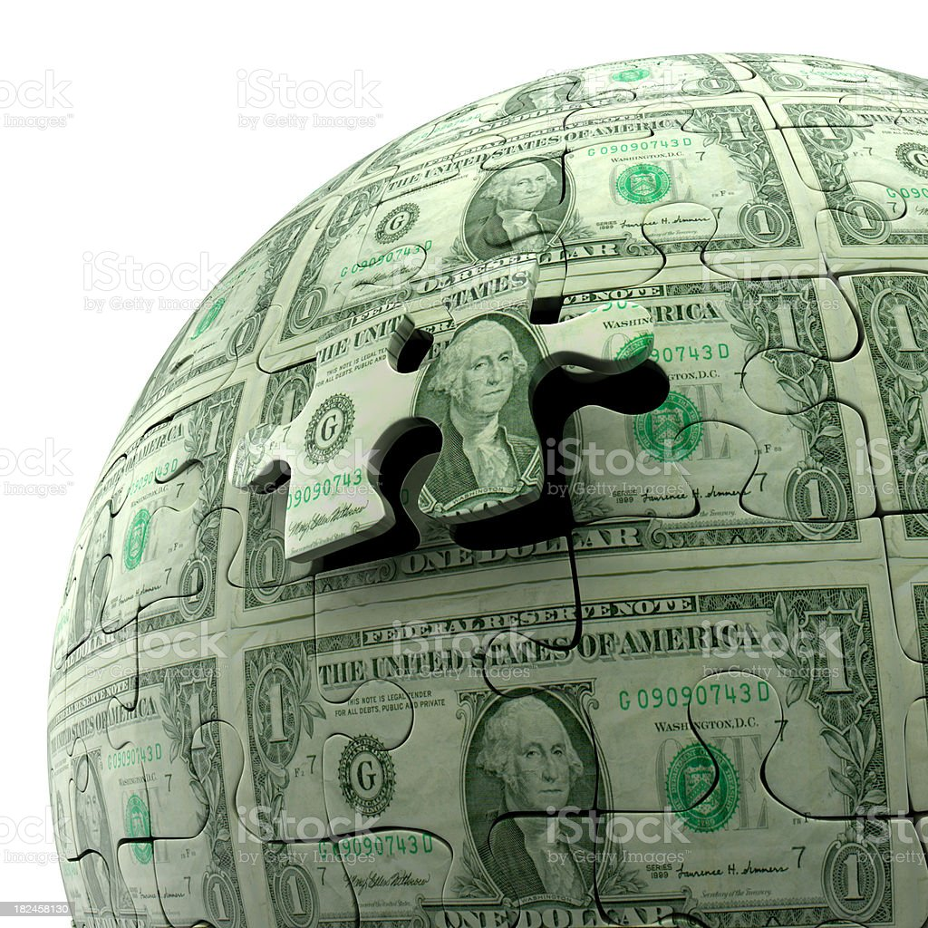 Dollar bill puzzle ball, isolated on white, Clipping Path included stock photo