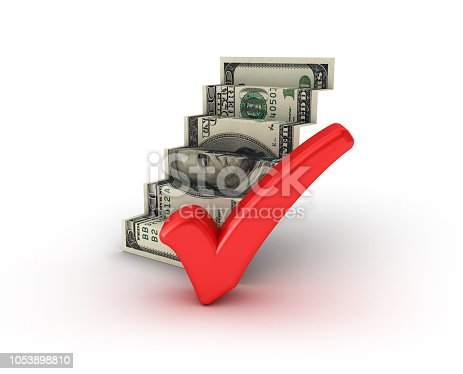 istock Dollar Bill Stair with Check Mark - 3D Rendering 1053898810