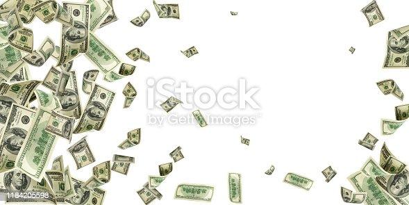 istock Dollar bill. Washington american cash. Usd money background. Money falling. 1184205598