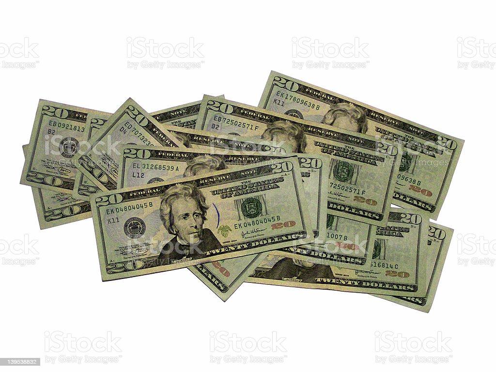 20 Dollar Bills 4 royalty-free stock photo