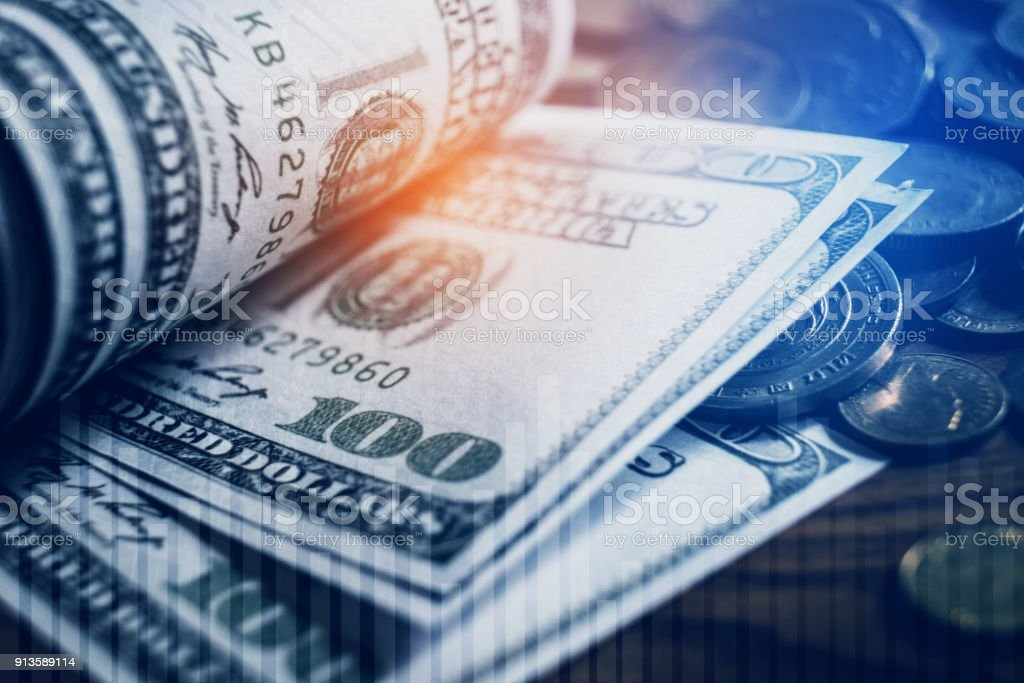 Dollar bills and finance and banking on digital stock market financial exchange stock photo