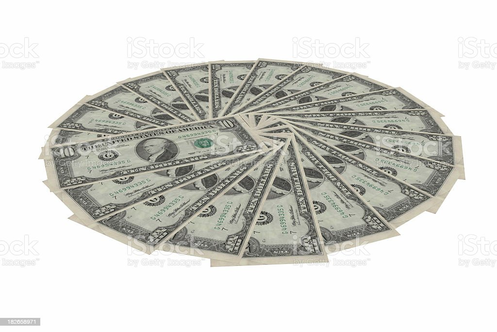 Dollar bills fanned (inclined) stock photo