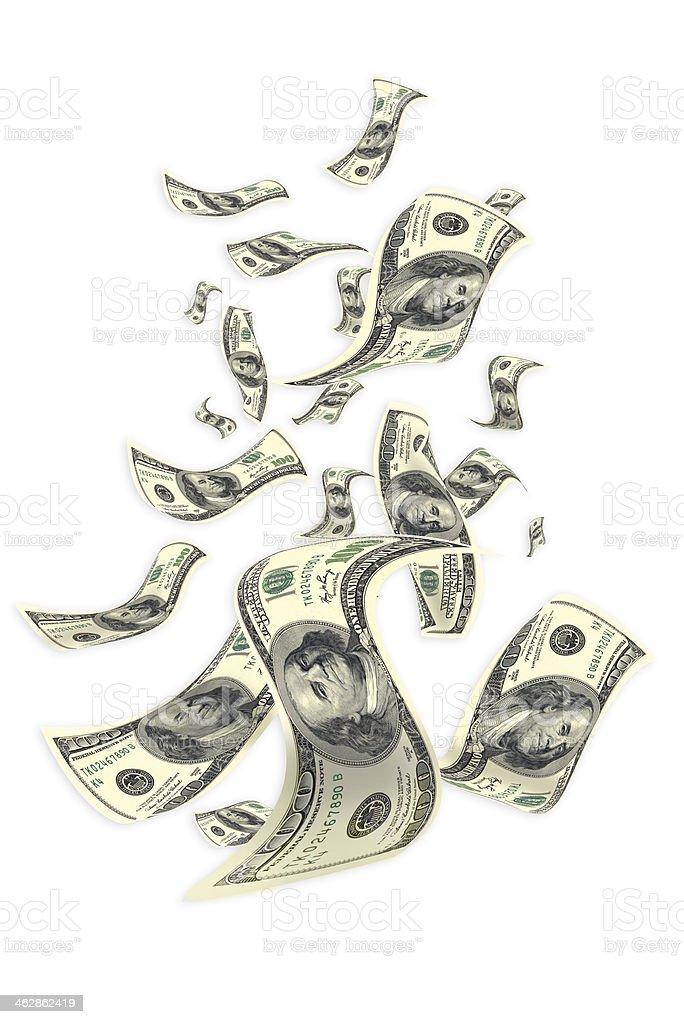 100 dollar bills, flying in clear sky stock photo