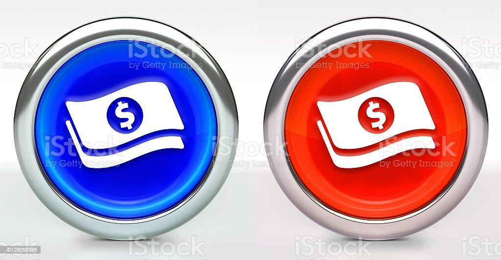 Dollar Bills Icon on Button with Metallic Rim stock photo