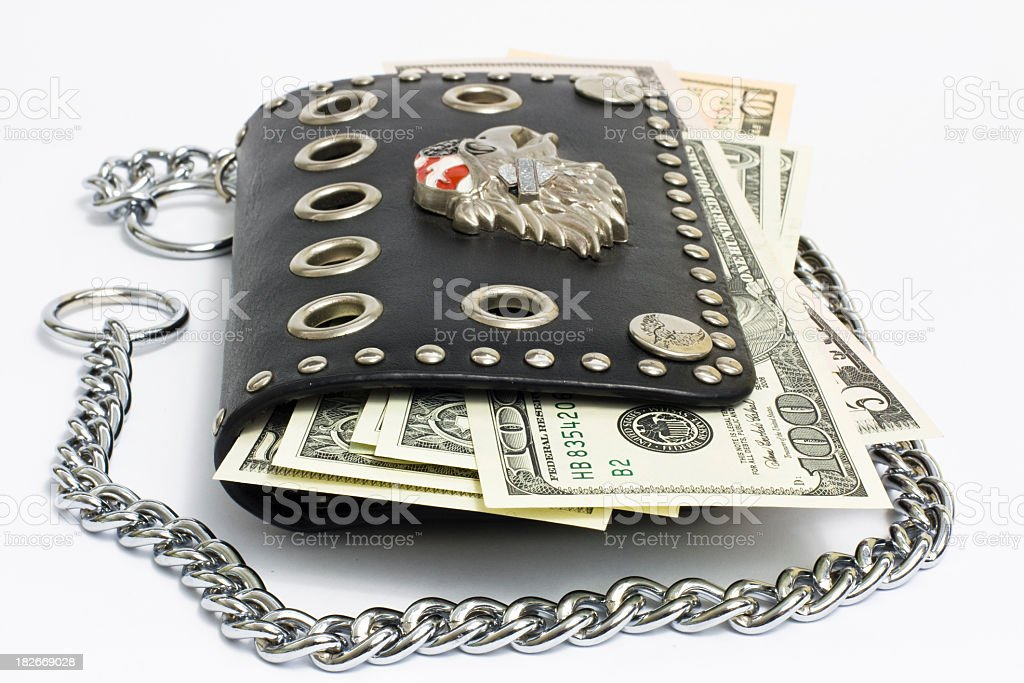 Dollar bills in wallet stock photo