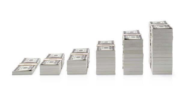 在白色背景上隔離的美元鈔票 - money 個照片及圖片檔