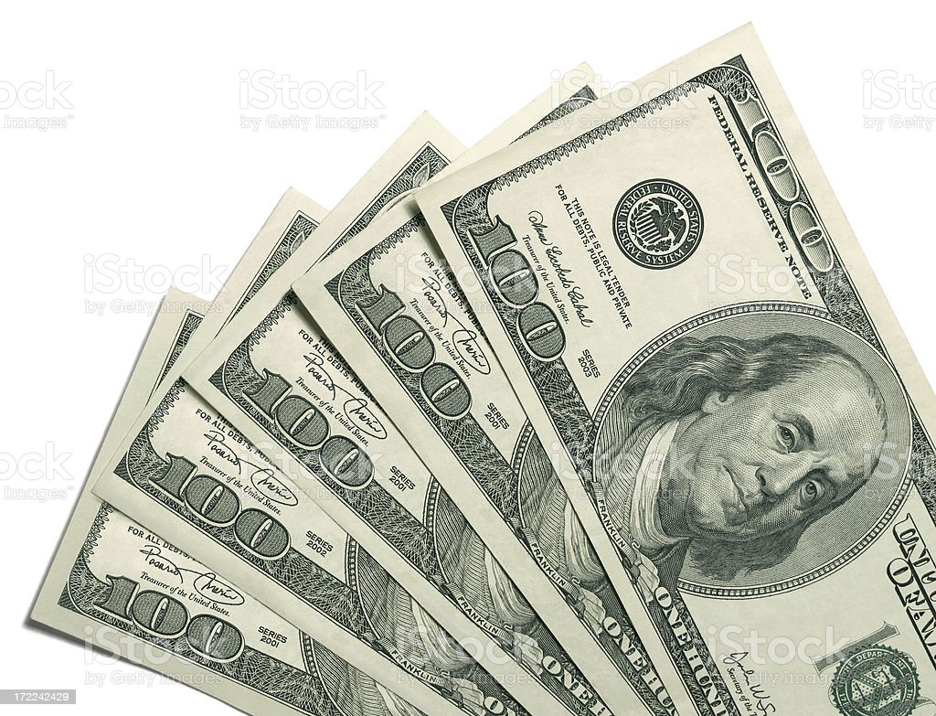 $100 Dollar Bills On White Background royalty-free stock photo
