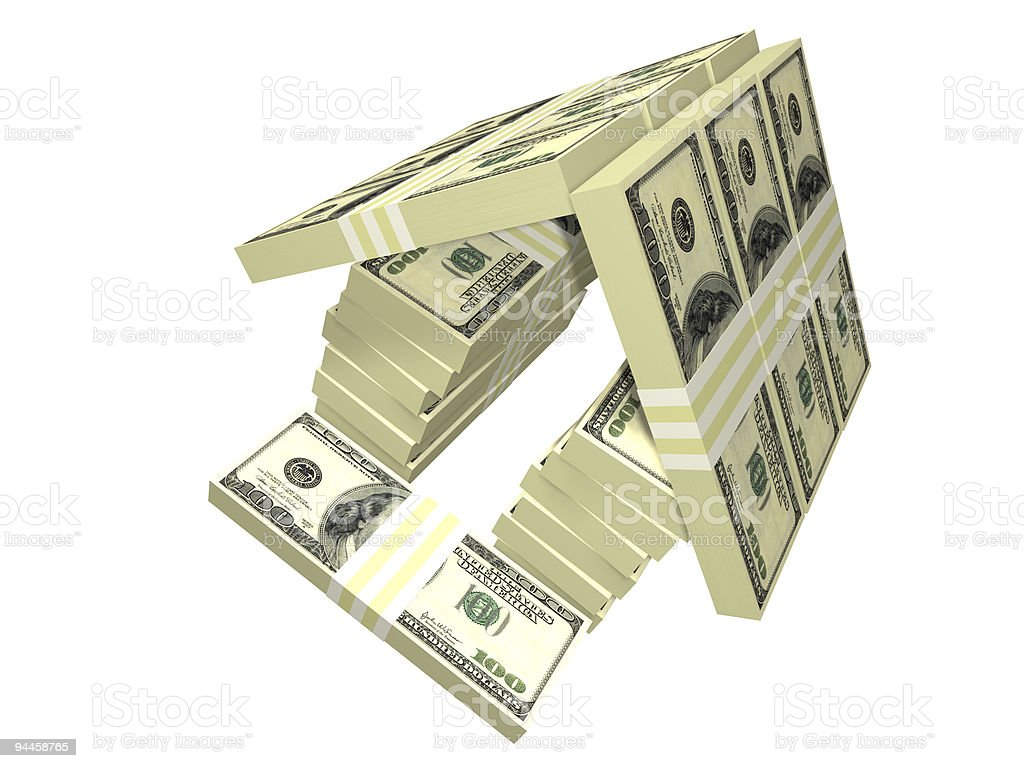 dollar bills pack money house isolated royalty-free stock photo