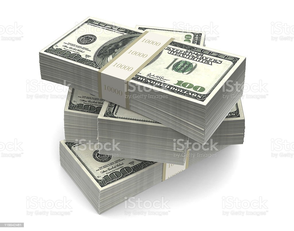 Dollar Bills Packs (with clipping path) royalty-free stock photo