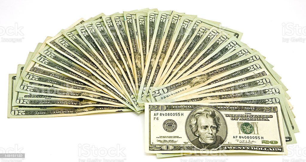 US 20 Dollar Bills royalty-free stock photo