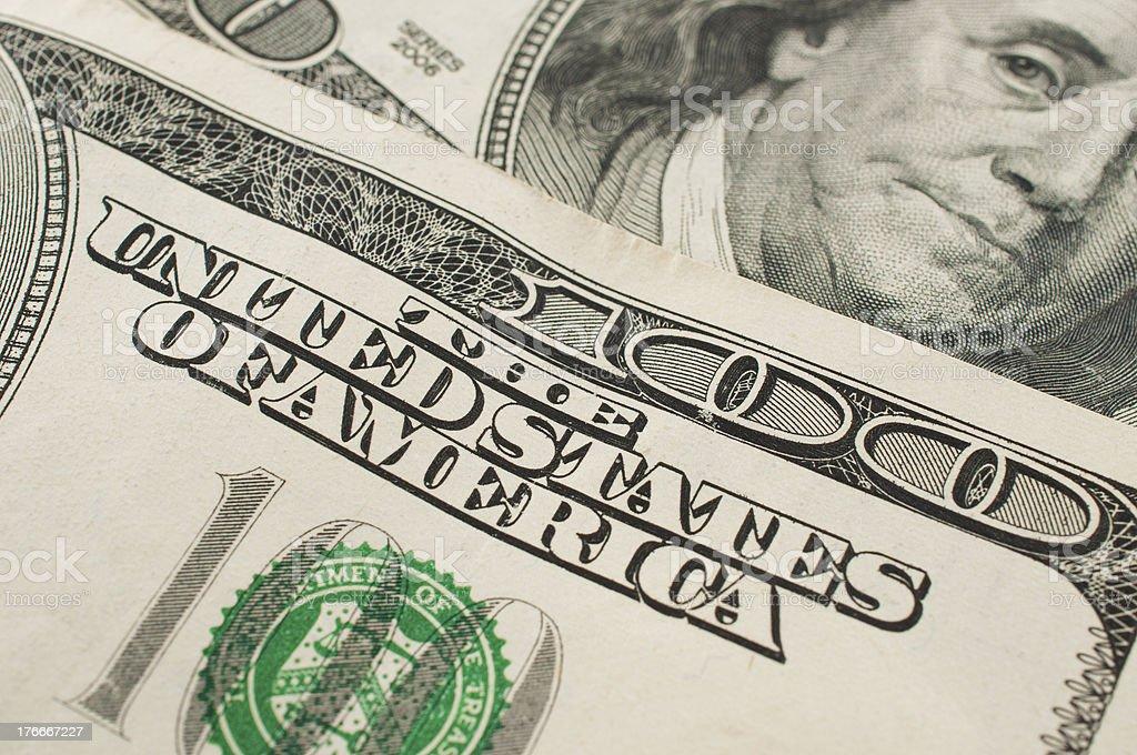 US 100 dollar bills royalty-free stock photo