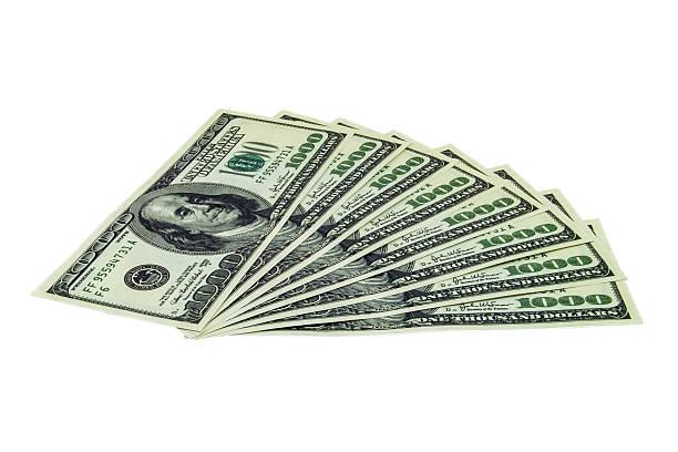 1000 dollar bills stack stock photo
