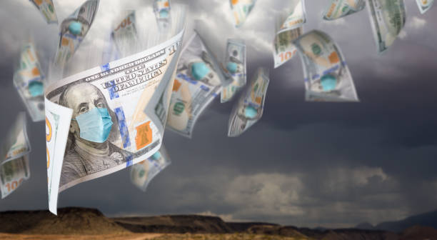 100 Dollar Bills with Face Mask Falling From Stormy Cloudy Sky 100 Dollar Bills with Face Mask Falling From Stormy Cloudy Sky. medium group of objects stock pictures, royalty-free photos & images