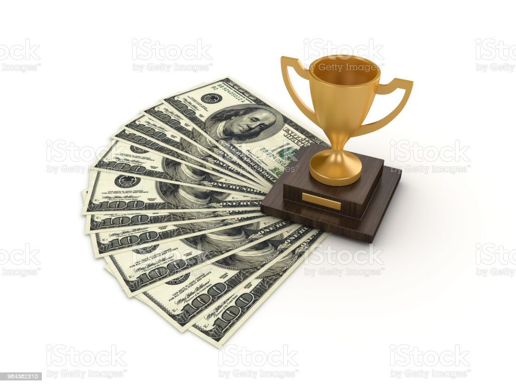 Dollarbiljetten met winnaar trofee - 3D-Rendering - Royalty-free Accountancy Stockfoto