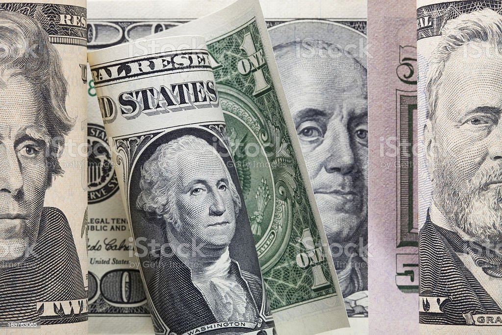 Dollar bills.Dollar bills with four U.S. presidents royalty-free stock photo