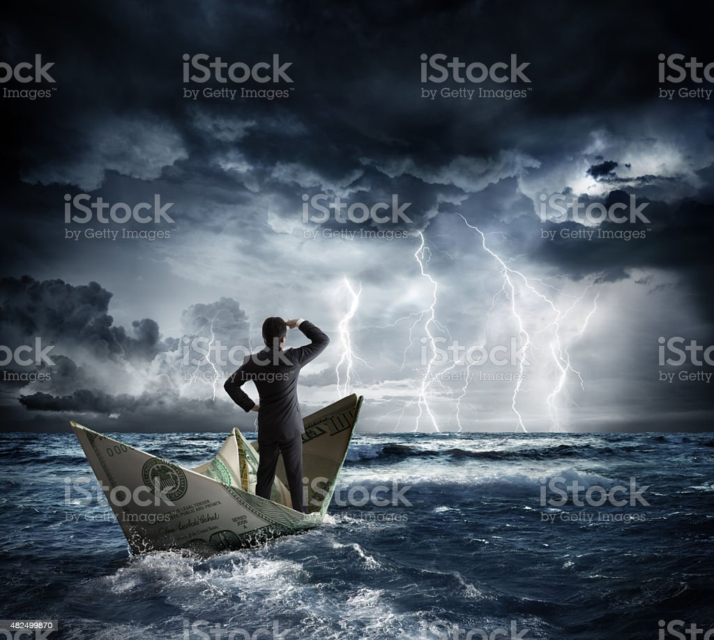 dollar boat in the bad weather stock photo