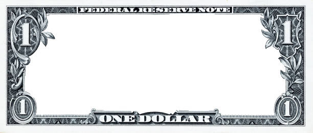 u.s. 1 dollar border with empty middle area - dollar bill stock pictures, royalty-free photos & images
