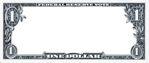 frontera de 1 dólar en ee. uu. con área media vacía - dollar bill fotografías e imágenes de stock