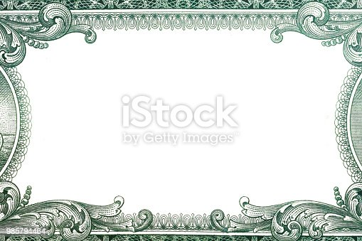 blank 1 Dollar bank note for design with copyspace
