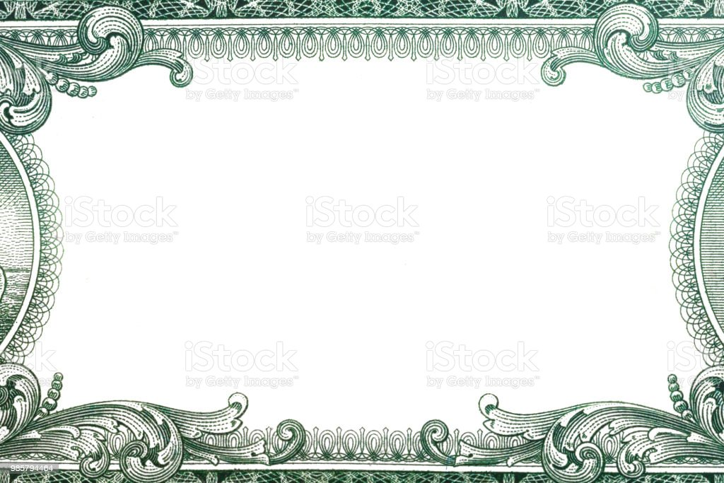 U.S. dollar border with empty middle area stock photo
