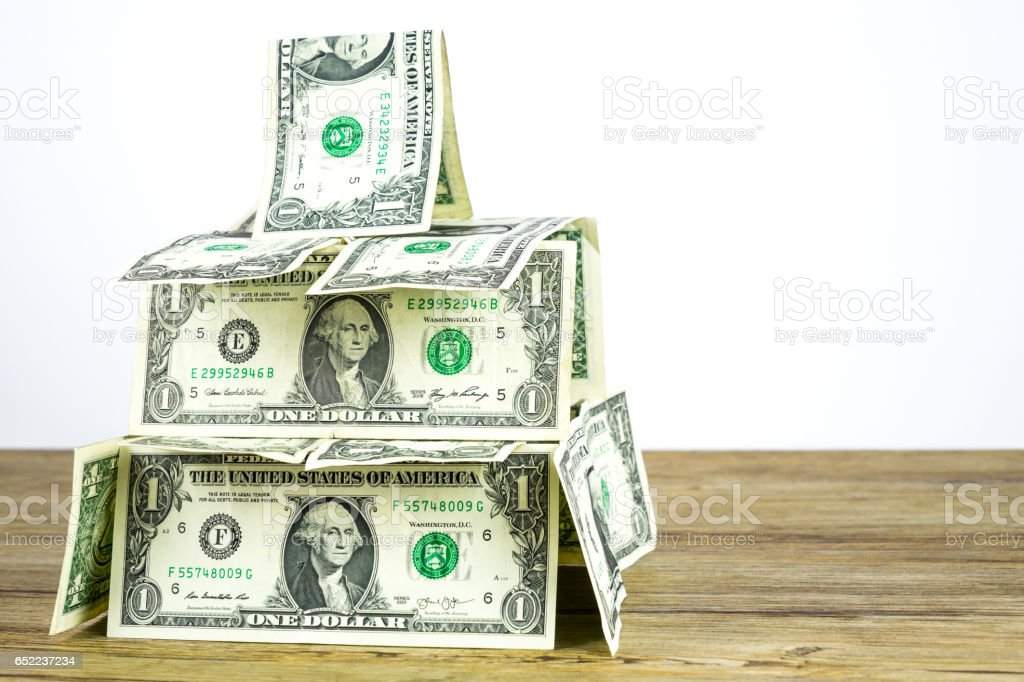 Dollar castle in the air stock photo