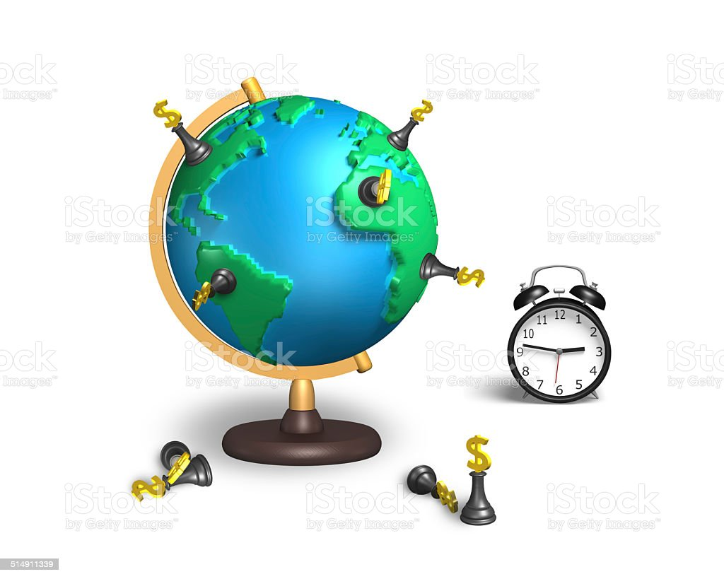 dollar chess stand on 3d map terrestrial globe with clock stock photo