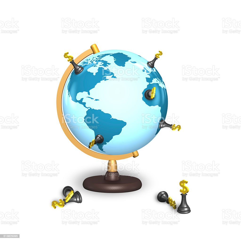 dollar chess stand on terrestrial globe stock photo