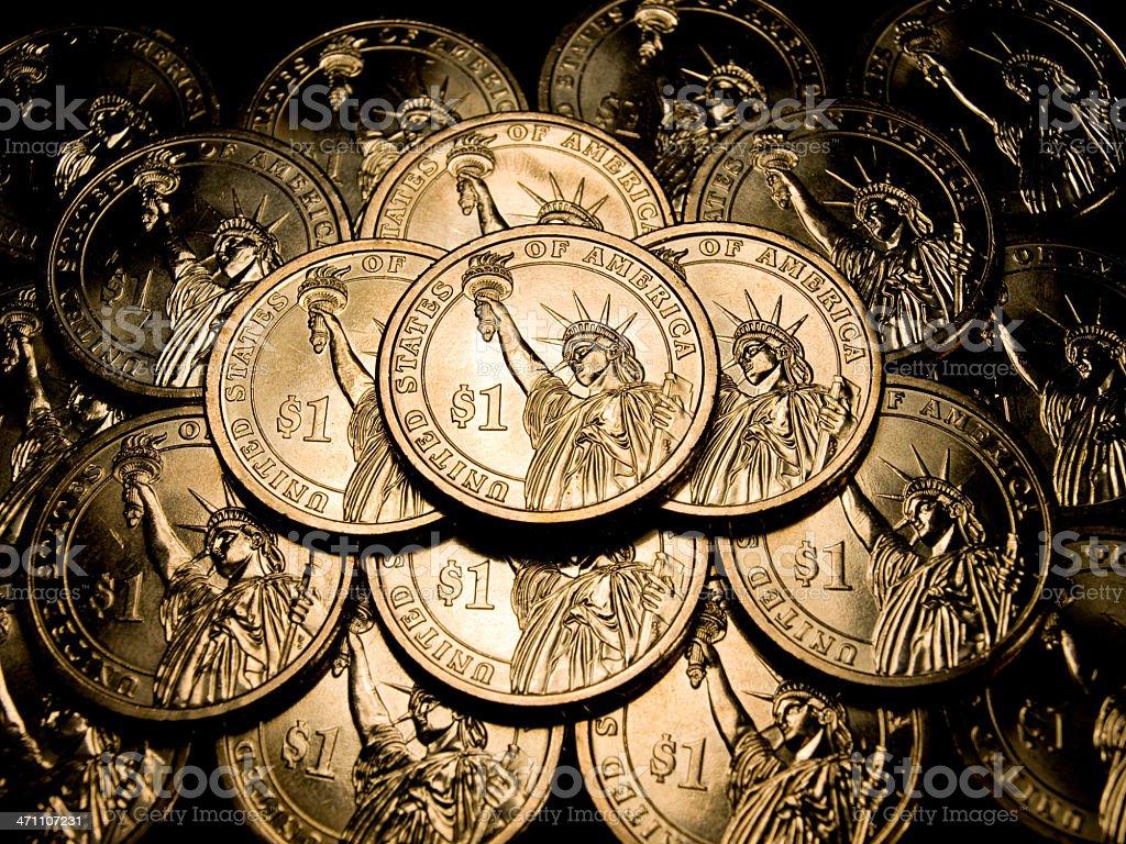 US $1 Dollar Coin royalty-free stock photo