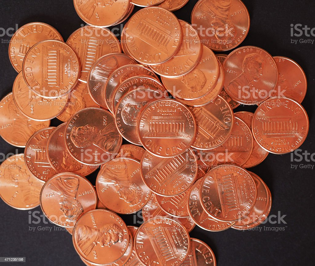 Dollar Coins 1 Cent Wheat Penny Cent Stock Photo - Download Image
