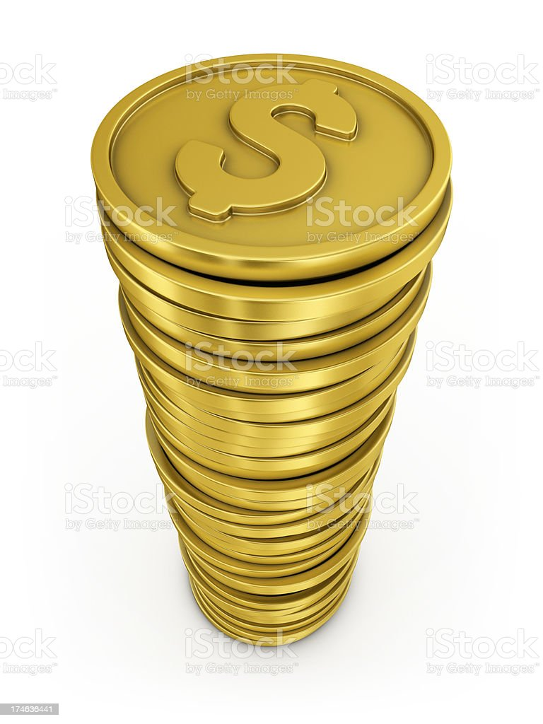 dollar coins stack royalty-free stock photo