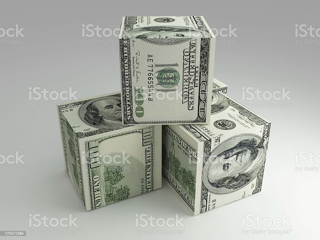 3D Dollar Cube - 100$ royalty-free stock photo