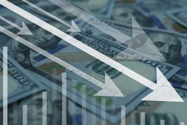 US dollar currency decrease or drop in bad situation business background. US dollar currency decrease or drop in bad situation business background. depreciation stock pictures, royalty-free photos & images