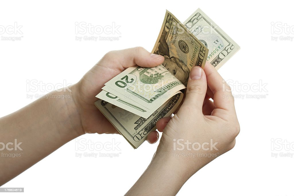 Dollar currency in hand royalty-free stock photo