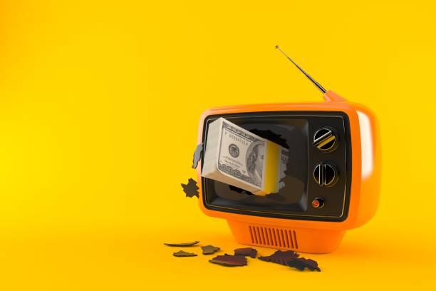 Dollar currency inside tv - foto stock