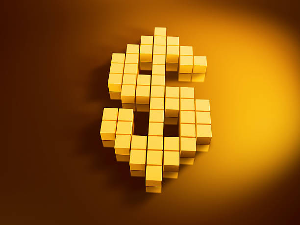 Dollar Currency Symbol Golden Cubes 3D Render of a dollar currency symbol with pixelated golden cubes. Very high resolution available! Use it for Your own composings!Related images: golden cube stock pictures, royalty-free photos & images