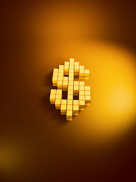 Dollar Currency Symbol Golden Cubes Vertical 3D Render of a dollar currency symbol with pixelated golden cubes. Very high resolution available! Use it for Your own composings!Related images: golden cube stock pictures, royalty-free photos & images