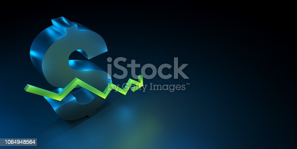 istock Dollar currency symbol with rising  down growing green arrow. 1064948564