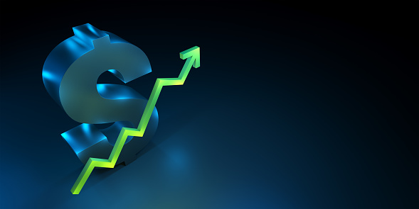 831745600 istock photo Dollar currency symbol with rising up growing green arrow. 1064948684
