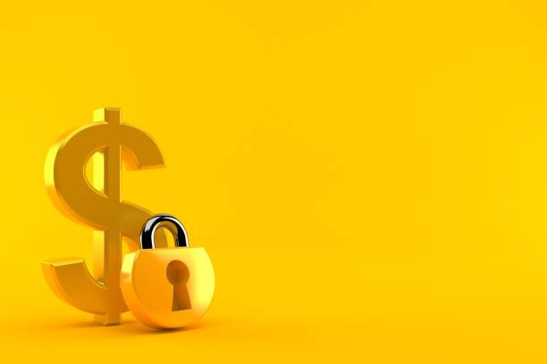 Dollar currency with padlock - foto stock