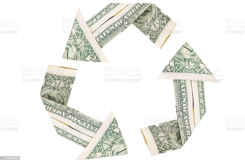 dollar cycle sign on white stock photo